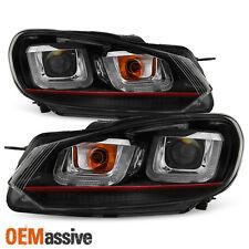 [Red Stripe Edition] 2010-2014 VW Golf GTI Black LED Tube Projector Headlights