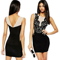 Floral Lace Sleeveless Sexy Mini Black Stretch Bodycon Casual Party Club Dress