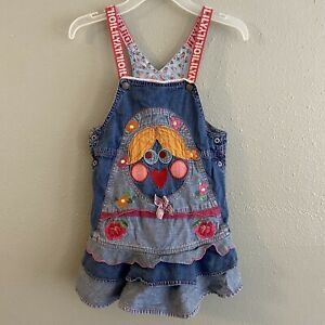 Oilily Denim Overall Dress Girls Size 4-5 Patchwork Jumper Embroidered Floral