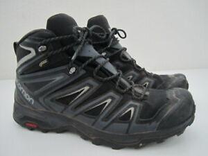 Mens size 11.5 Salomon X Ultra 3 Mid GTX Gore-Tex black gray hiking boots shoes