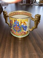 VTG 1937 PARAGON CORONATION KING GEORGE VI ELIZABETH LOVING CUP GOLD LION HANDLE