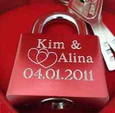 Liebesschloss ROT mit Gravur Valentinstag Geburtstag Jahrestag Liebes Geschenk
