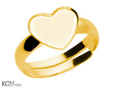 Ring base for Swarovski 2808 heart 10 mm P11 adjustable - gold-plated silver
