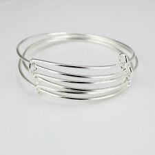 10pcs en vrac Lot Extensible Argent Bracelet fil enroulé réglable Dwwj FR