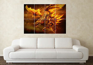 Large Phoenix Dragon Fantasy Myth Gothic Magic Wall Poster Art Picture Print