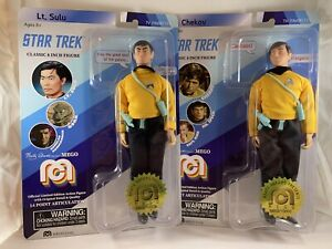 """Mego Star Trek 8"""" Figures Set of 2 Lt. Sulu & Chekov MOC Mint In Package Carded"""
