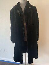 Genuine Black Rabbit Fur Long Coat Womens Size XL, Vintage, Lined