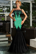 NEW GREEN BLACK SEQUIN MERMAID MAXI EVENING PARTY DRESS BALLGOWN SIZE 12 14