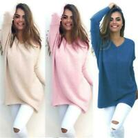 New Womens Long Sleeve V Neck Loose Knitted Sweater Ladies Casual Jumper Tops H