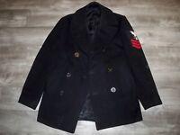 Vintage 1970s US Navy Blue Kersey Peacoat Military Wool Jacket Vietnam Size 36 R