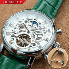 Mens Automatic Mechanical Watch Date Day Silver White Green Leather Deployant