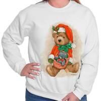 Santa Claus Teddy Bear Merry Christmas Xmas Womens Long Sleeve Crew Sweatshirt