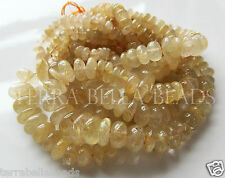 "7"" half strand gold RUTILATED QUARTZ smooth gem stone rondelle beads 5mm - 8mm"