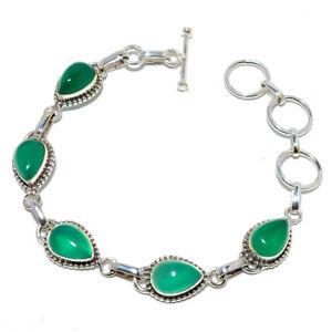 "Green Onyx Gemstone 925 Sterling Silver Handmade Tennis Bracelet 7.99"" B1478-1"
