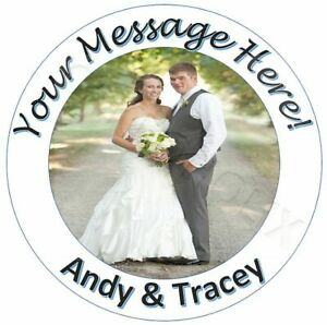 Personalised Round Cake Topper with Photo & Message Wedding Birthday Christening