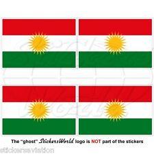 KURDISTAN Flag, Kurd Alaya Rengîn Kurdish 50mm Bumper-Helmet Stickers, Decals x4