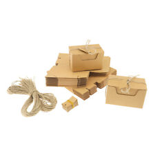 50pcs Kraft Paper Candy Box Gift Boxes Wedding Party Favors Decor With Ribbons
