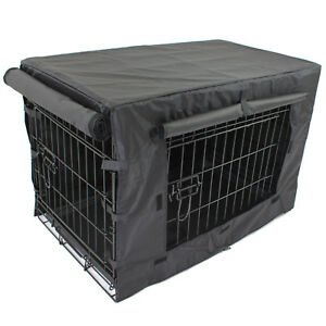 PetJoint Pet Dog Crate + Waterproof Cover Metal Cage House Puppy Kennel Cat Home