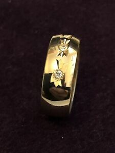 Gents Gold Coloured Dress Ring with Inlaid Stones