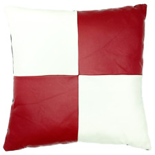 Full Grain Leather Red/White Checkered Pillow Cover Only Or With Cushion Decor