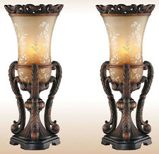 Table Lamps For Living Room Buffet Bedroom Hand Painted Vintage Set Of 2 Bronze