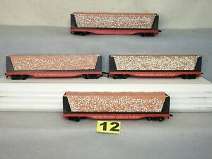 SET OF FOUR  TYCO HO SCALE SOUTHERN WOOD PULP FLAT CARS, NEW, READY TO RUN
