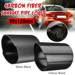 89mm Carbon Fiber Car Exhaust Pipe Cover Tip Accessories Glossy / Matte Black