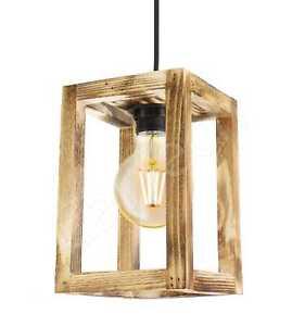 WOODEN PENDANT LIGHT SHADE CEILING LIGHT LAMP