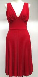 Womens Anna Argiolera Red V-Neck Sleeveless Pleated Pullover Dress Size Med USA