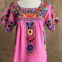 Mexican Peasant Tunic Blouse,Floral Hand Embroidery, Boho Hippie Top, Pink S/M/L