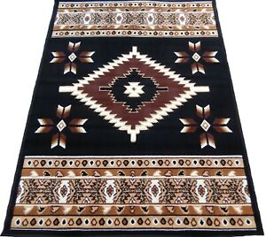 4x6 Area Rug Black Burgundy Southwest Carpet Native American Tribe Home textiles