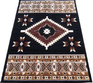 4x6 Area Rug Black Burgundy Southwest Carpet Native American Tribe Home textiles