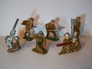 """Six Vintage """" Barclay, Manoil """" Toy Lead Soldiers Various Models."""