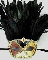 Crimson Gold Harlequin Venetian Feather Masquerade Mask Mens