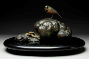 Japanese Vintage Sparrow on Rock Bronze Ornament Lacquered Wooden Base