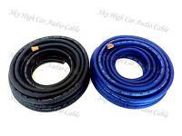 25 ft 4 Gauge AWG 12.5' BLACK / 12.5' BLUE Power Ground Wire Sky High Car Audio