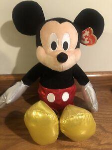 "NWT TY Disney Mickey Mouse Sparkle Beanie Buddy 13"" Medium Shiny Sparkly Plush"