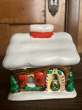 Ceramic Christmas Votive Tealight Candle Holder Winter Cottage Cabin Gingerbread