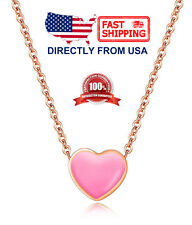 Women's Rose Gold Plated Stainless Steel Enamel Heart Necklace