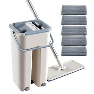 Flat Squeeze Mop and Bucket Microfiber Mop Pads Hand Free Wringing Floor Clean