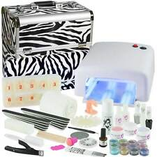 Mobiles Nagelstudio Set UV Gel Starterset Nagelset Einsteigerset + Koffer Zebra