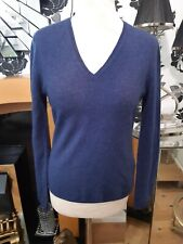 Women's Allude 100% cashmere Blue  long Sleeve V-Neck Jumper Size M