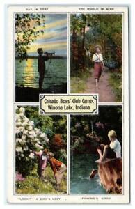 WINONA LAKE, IN Indiana ~Chicago BOYS' CLUB CAMP 1942 Koskiusco County  Postcard