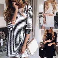 Women 3/4 Sleeve Casual T-shirt Dress Summer Beach Loose Short Mini Tunic Dress