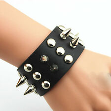 Nice Metal Taper Stud Rivet Spike Punk Leather Bangle Cuff  Wristband