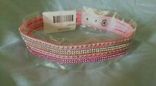 "NIP Crystals & Silver Studs Pink Adjustable (3) Snap 16"" Long Dog Collar"
