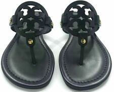 Tory Burch Women's Black Leather Miller Sandals Thongs Flip Flops Flats Shoes 8