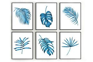 Blue tropical leaves prints, greenery wall art, botanical wall art, home decor