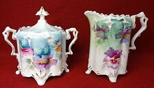"""UNMARKED RS PRUSSIA china 4-Footed Blown Out Mold Creamer & Sugar Set - 4-1/4"""""""