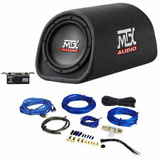 "MTX Road Thunder RT8PT 8"" 240 Watt Powered Vented/Ported Bass Tube+Amp Wire Kit"